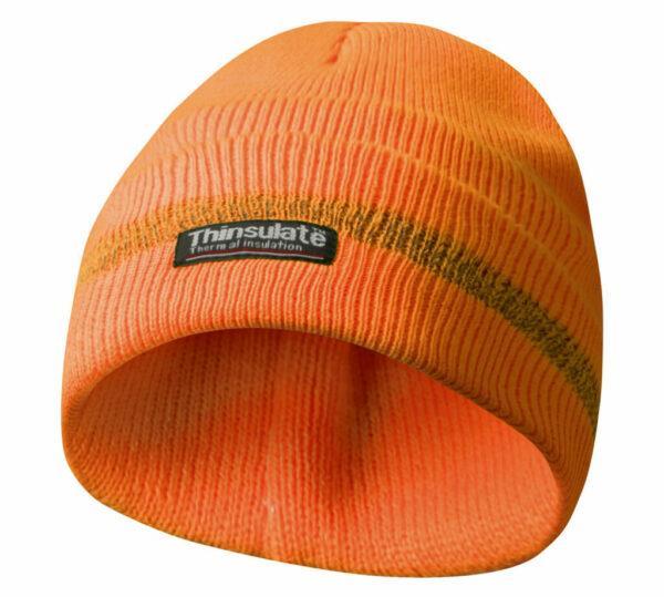 Haube mit Reflektionsstreifen orange